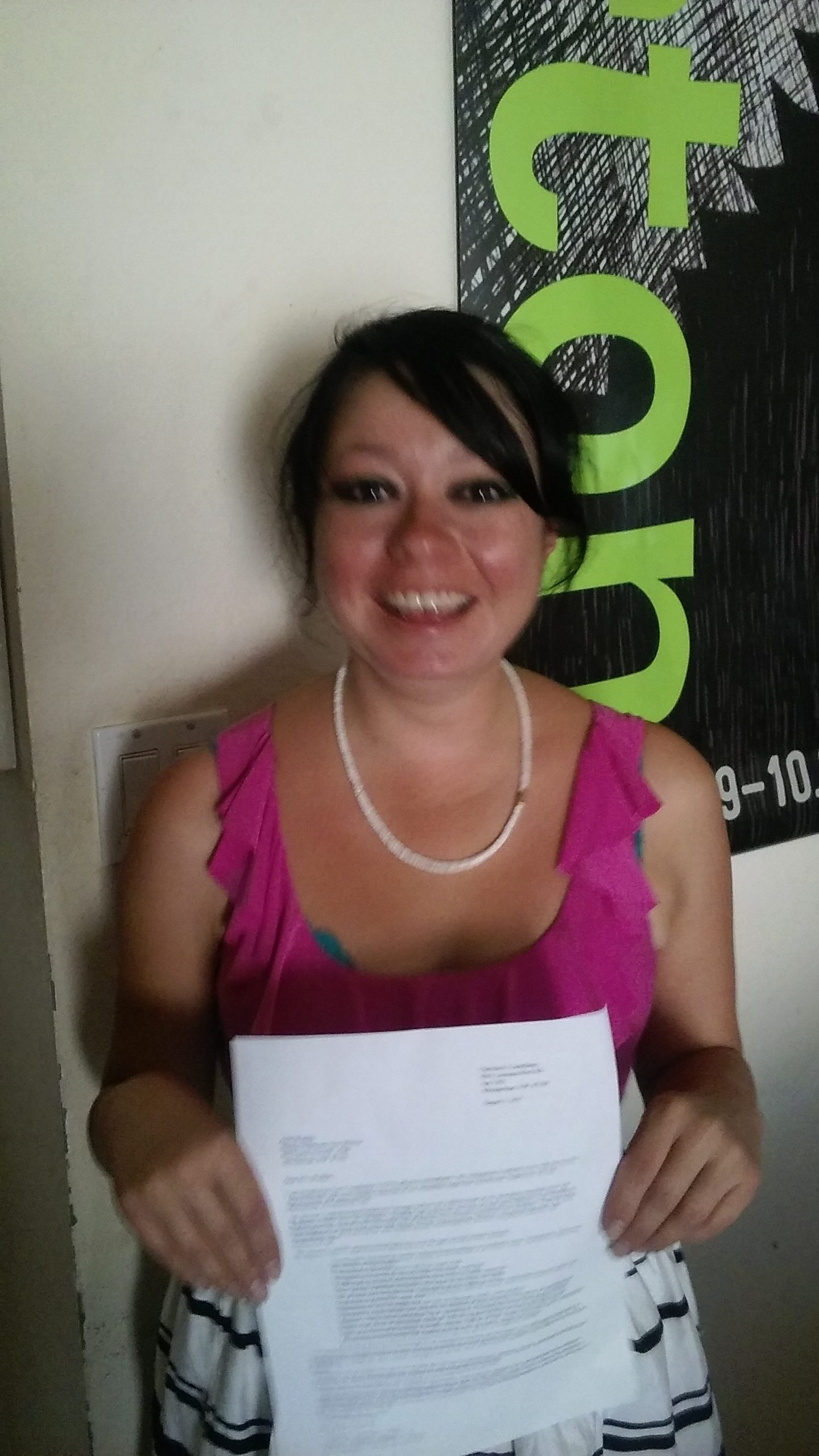 A deservedly-proud Clare Castellano with her Molina resignation letter ... you don't hurt the ones I love ... c'est fin?